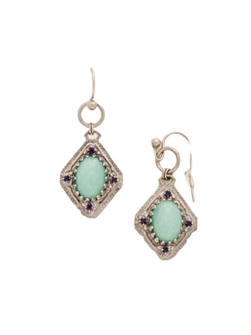 Sorrelli African Violet Semi-Precious Oval and Metal Diamond French Wire Earrings~ EDE12ASAFV
