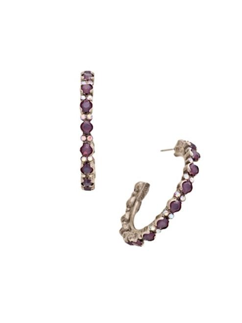 Sorrelli African Violet Prongless Crystal Hoop Earrings~ ECR107ASAFV