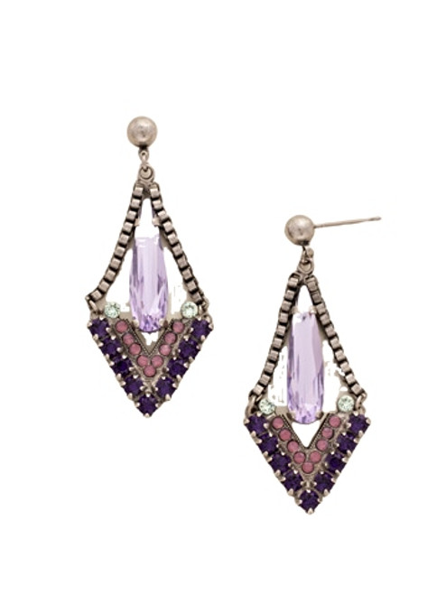 Sorrelli African Violet Crystal Triangle and Box Chain Statement Earrings~ EDB17ASAFV
