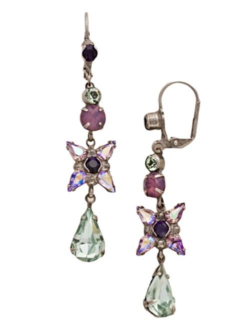 Sorrelli African Violet Delicate Flower Crystal Drop French Wire Earrings~ ECR30ASAFV
