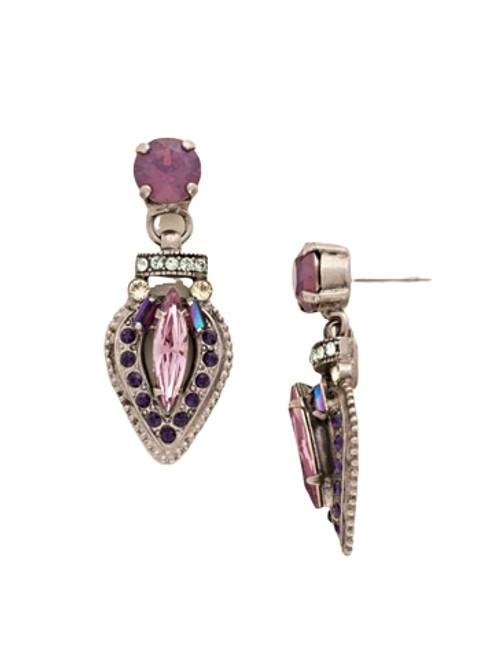 Sorrelli African Violet Multi-Cut Crystal Encrusted Post Earrings~ EDE14ASAFV