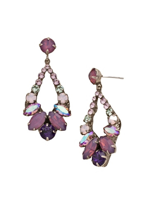 Sorrelli African Violet Navette and Round Crystal Adornment Dangle Earrings~ EDA53ASAFV