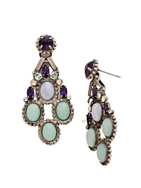 Sorrelli African Violet-Ornamented Oval Cluster Post Earrings~ EDE43ASAFV