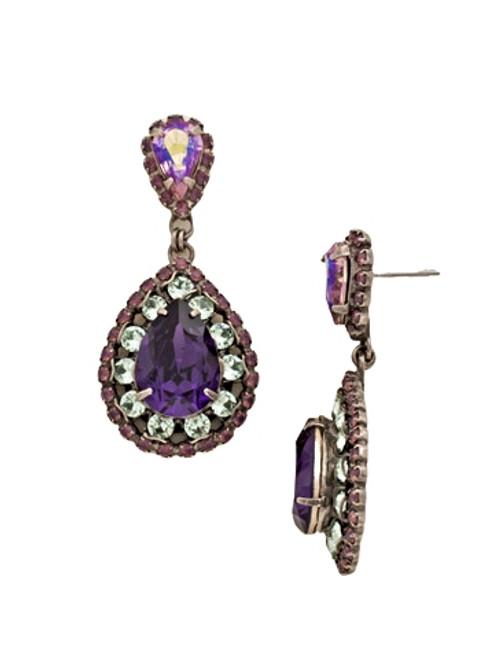 Sorrelli African Violet Oval Encrusted Crystal Earrings~ ECW47ASAFV