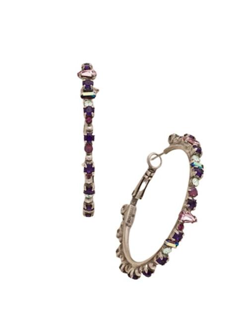 Sorrelli African Violet Multi Cut Crystal Encrusted Hoop Earrings~ EDB8ASAFV