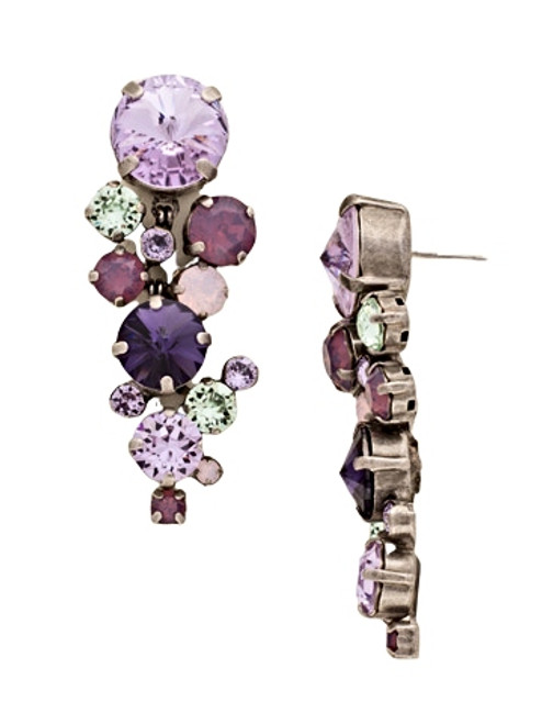 Sorrelli African Violet Circular Crystal Cluster Drop Earrings~ ECW10ASAFV