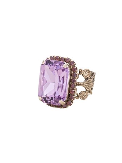 Sorrelli African Violet Petite Emerald Cut Crystal Ring~ RCF9ASAFV