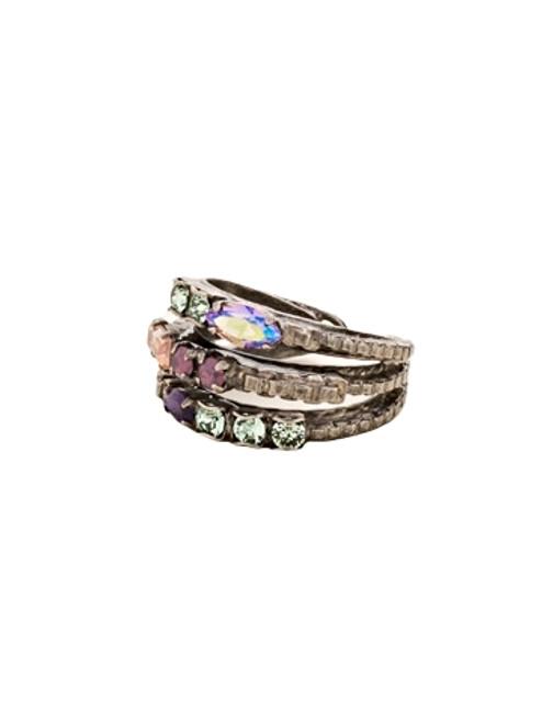 Sorrelli African Violet-Triple Stacked Crystal Ring~ RCT29ASAFV
