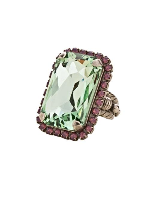 Sorrelli African Violet Luxurious Emerald- Cut Cocktail Ring~ RBT69ASAFV