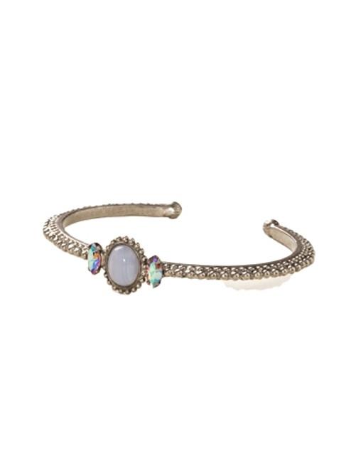 Sorrelli African Violet- Oval Semi-Precious and Crystal Cuff Bracelet~ BDE47ASAFV