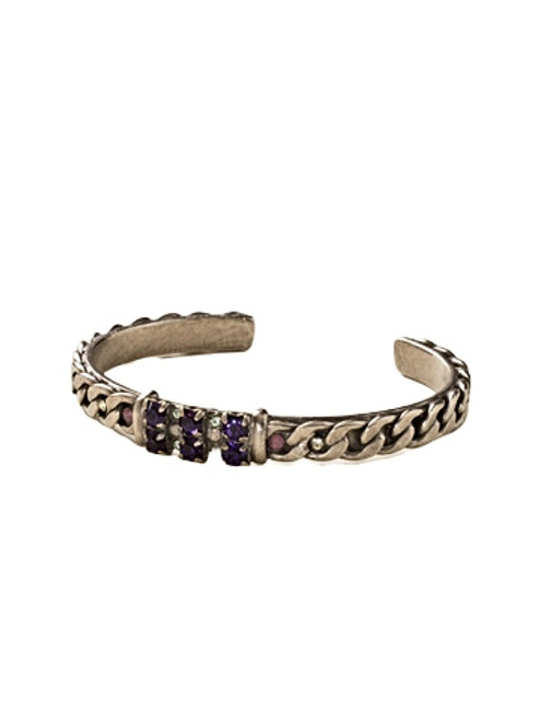 Sorrelli African Violet Round Crystal and Curb Chain Cuff Bracelet~ BDE13ASAFV