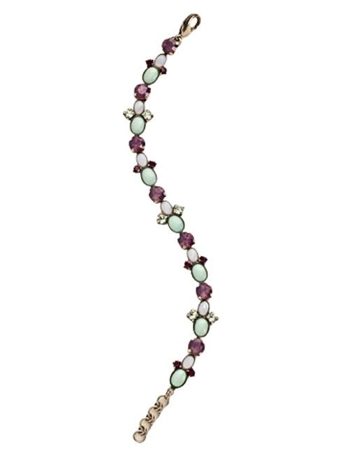 Sorrelli African Violet-Oval Semi-Precious and Crystal Line Bracelet~ BDE7ASAFV