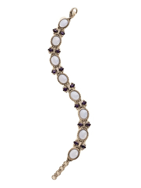 Sorrelli African Violet-Repeating Semi-Precious Oval and Crystal Bracelet~ BDE8ASAFV