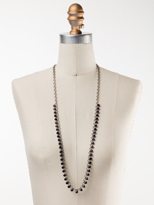 Sorrelli African Violet Petite Round Crystal Long Strand Necklace~ NDE29ASAFV