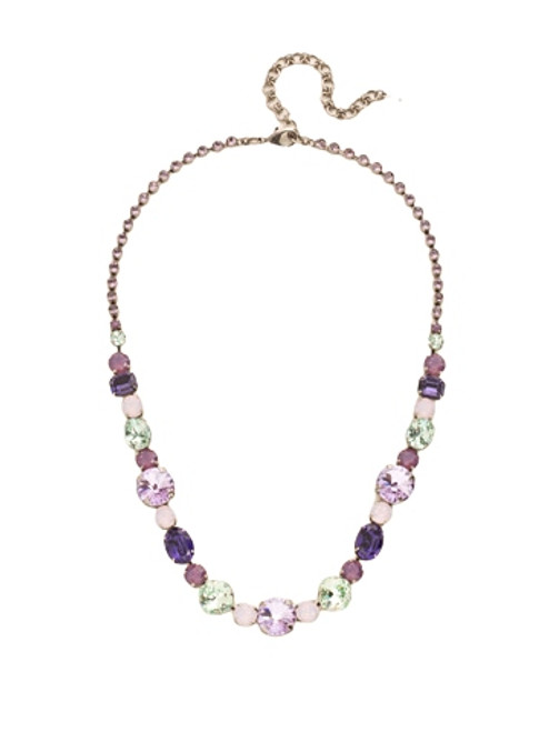 Sorrelli African Violet Graduated Classic Tennis Necklace~ NCP38ASAFV