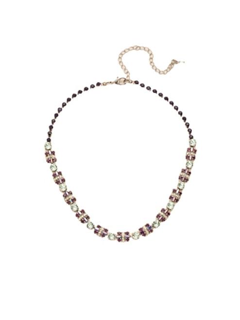 Sorrelli African Violet Geometric Crystal Section Line Necklace~ NDE21ASAFV