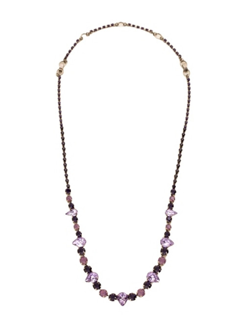 Sorrelli African Violet- Pear and Round Cut Crystal Necklace~ NCR19ASAFV