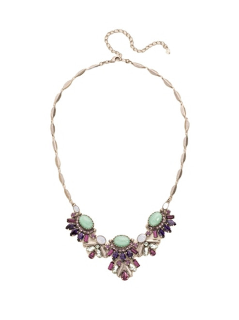 Sorrelli African Violet -Semi-Precious and Multi-Cut Crystal Cluster Necklace~ NDE8ASAFV