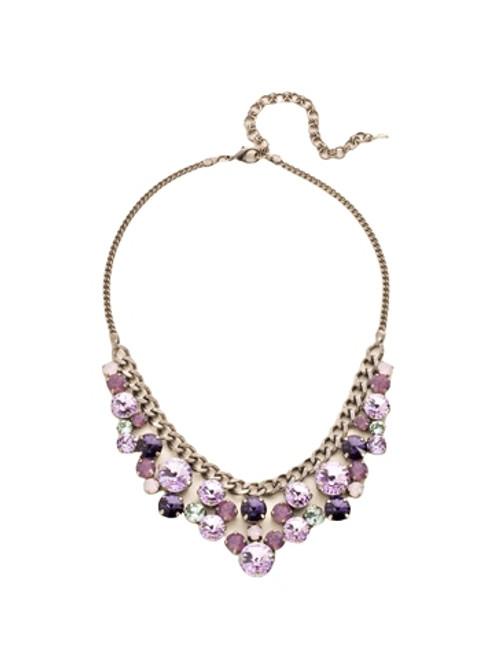 Sorrelli African Violet Round Crystal Cluster Bib Necklace~ NCW10ASAFV