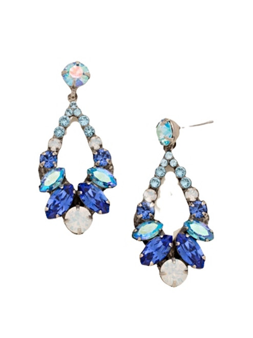 Sorrelli Electric Blue- Navette and Round Crystal Adornment Dangle Earrings~ EDA53ASEB