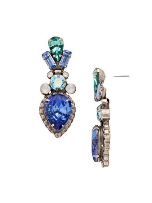 Sorrelli Electric Blue-Curb Chain Accented Pear Crystal Dangle Earrings~ ECW37ASEB