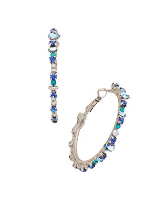 Sorrelli Electric Blue - Multi-Cut Crystal Encrusted Hoop Earrings~ EDB8ASEB