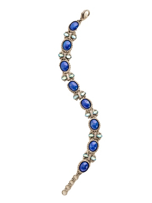 Sorrelli Electric Blue -Repeating Semi-Precious Oval and Crystal Bracelet~ BDE8ASEB