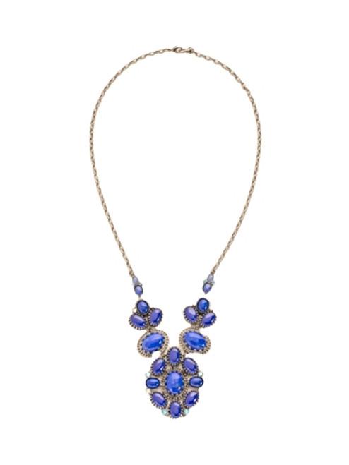 Sorrelli Electric Blue-Petite Oval Semi-Precious Cluster Bib Necklace~ NDE3ASEB