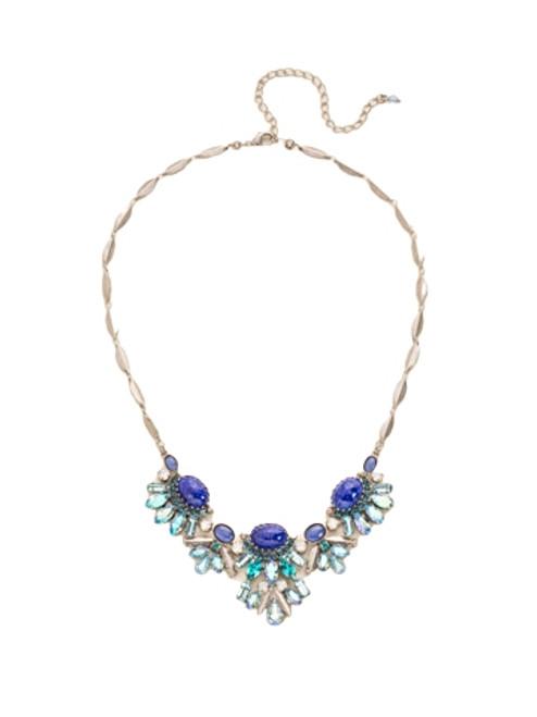 Sorrelli Electric Blue-Semi-Precious and Multi-Cut Crystal Bib Necklace~ NDE8ASEB