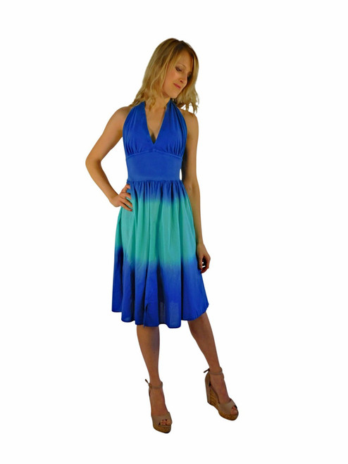 Luna Luz Double Dip Ombre Halter Dress Lapis/Sea Breeze 35W
