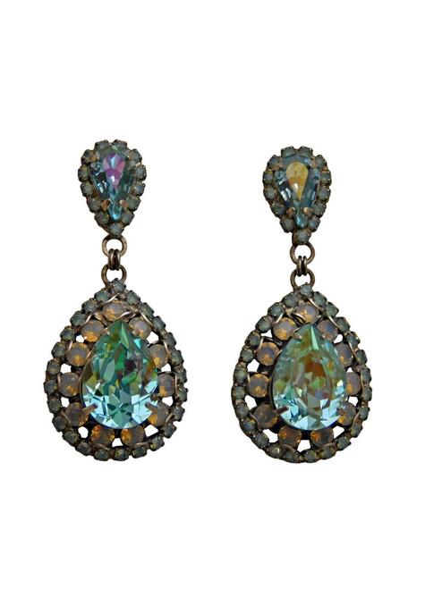 SORRELLI Teal Textile Oval Encrusted Crystal Earrings ~ ECW47ASTT