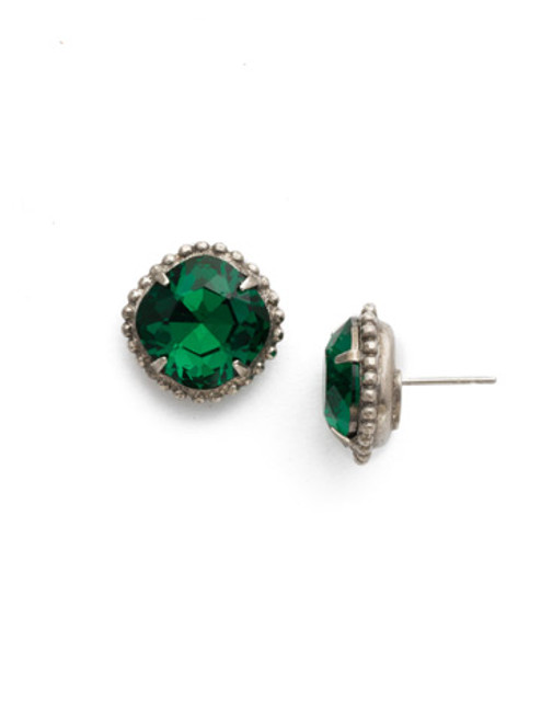 Sorrelli EMERALD- Cushion Cut Solitaire Stud Earrings~ EBX10ASEME