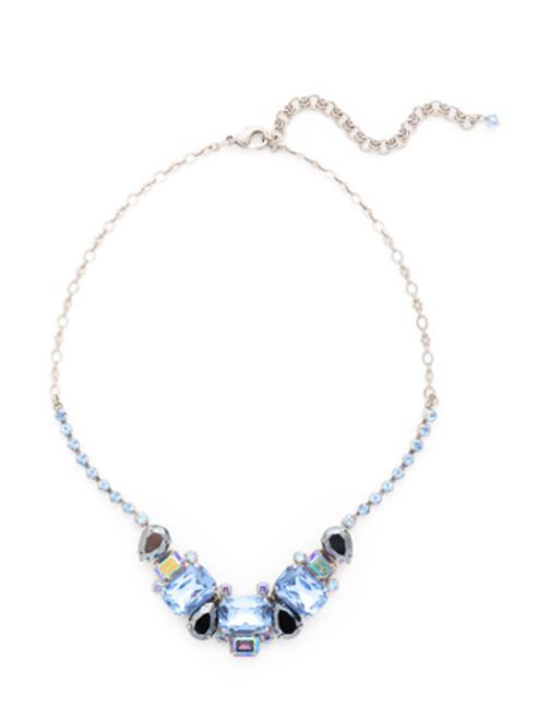 Sorrelli Ice Blue- Emerald and Pear Cut Crystal Collar Tennis Necklace~ NCT13ASIB