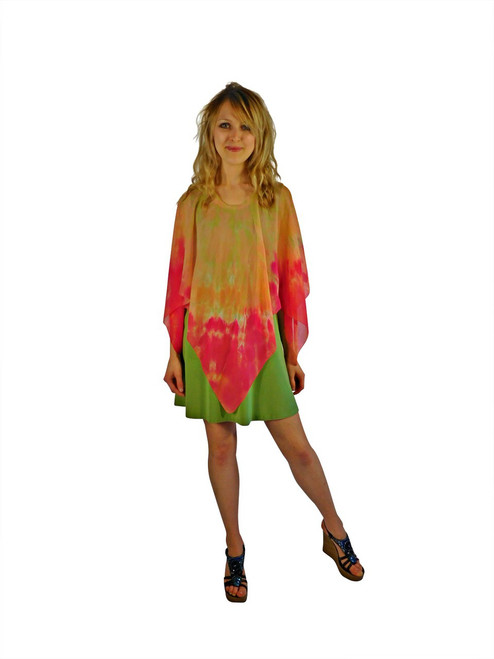 Hand Painted Silk Poncho Franklin Street Studio FS1021