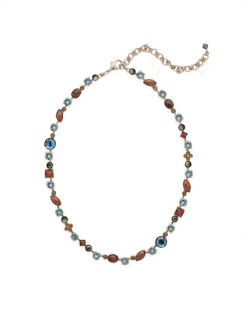 BLUE BROCADE CRYSTAL NECKLACE by Sorrelli NAQ3ASBBR