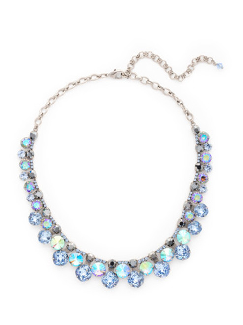 Sorrelli Ice Blue- Cushion Cut Crystal Collar Statement Necklace~ NCT14ASIB