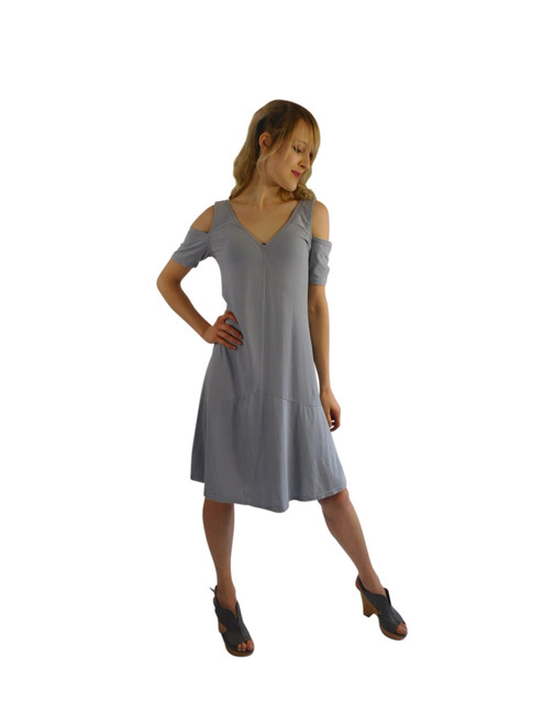 Luna Luz Positano Off The Shoulder Dress Paris Grey 360PG