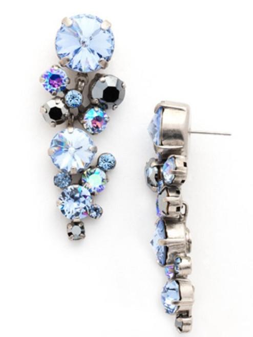 Sorrelli Ice Blue- Circular Crystal Cluster Drop Earrings~ ECW10ASIB