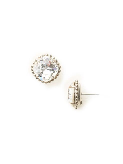 Sorrelli Antique Silver CRYSTAL- Cushion Cut Solitaire Earrings~ EBX10ASCRY