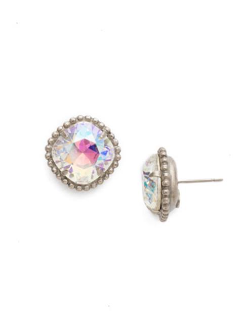 Sorrelli Crystal Aurora Borealis ~ Cushion Cut Solitaire Stud Earrings~ EBX10ASCAB