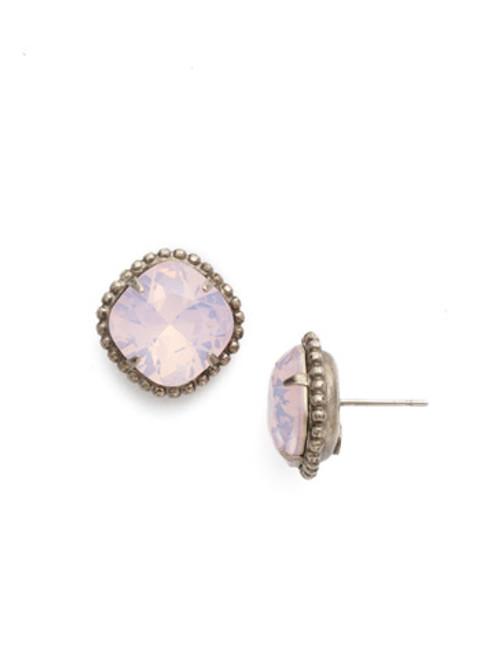 Sorrelli Essentials ROSE WATER- Cushion Cut Solitaire Stud Crystal Earrings~ EBX10ASROW