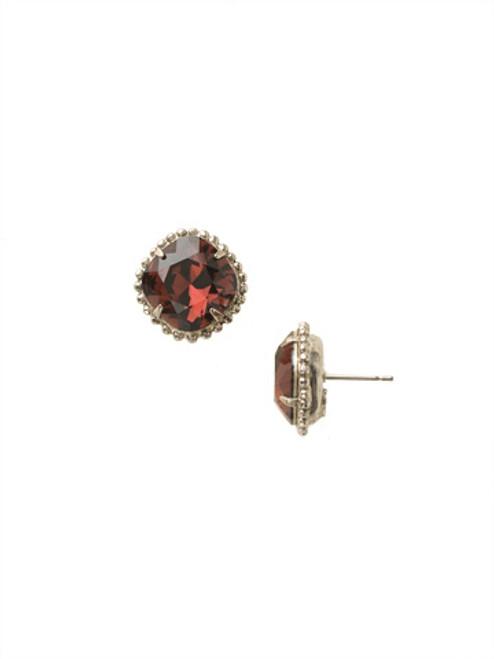 Sorrelli Essentials BURGUNDY- Cushion Cut Solitaire Stud Earrings~ EBX10ASBUR