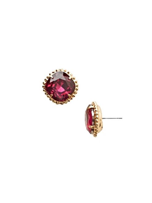 i Essentials~Fuchsia Cushion Cut Crystal Earrings~EBX10BGFU