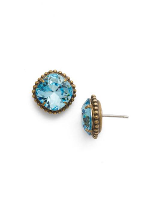 Sorrelli Essentials~ Aquamarine - Cushion Cut Solitaire Stud Earrings~ EBX10AGAQU