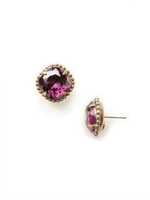 Sorrelli Essentials-AMETHYST-Cushion Cut Solitaire Crystal Stud Earrings~ EBX10AGAM
