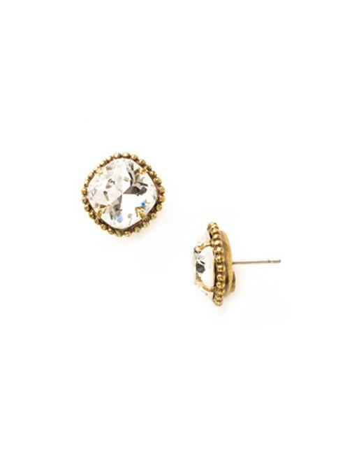 Sorrelli Antique Gold CRYSTAL- Cushion Cut Solitaire Earrings~ EBX10AGCRY
