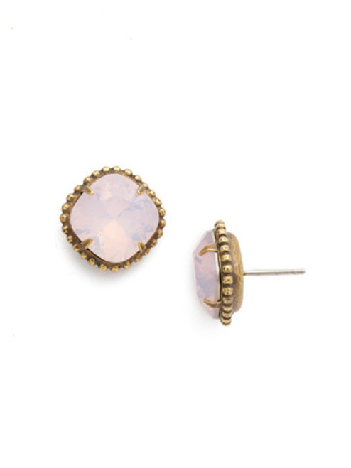 Sorrelli Essentials ROSE WATER- Cushion Cut Solitaire Stud Earrings~ EBX10AGROW