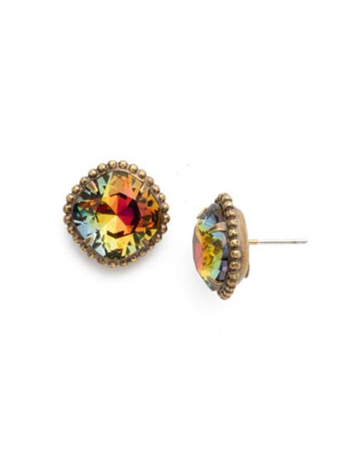 Sorrelli Essentials~Volcano Cushion Cut Solitaire Stud Crystal Earrings~EBX10BGVO