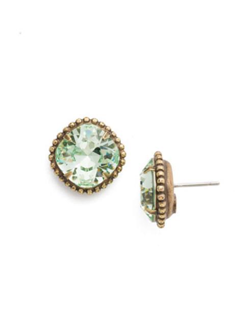 Sorrelli Mint Cushion Cut Solitaire Crystal Earrings~ EBX10AGMIN