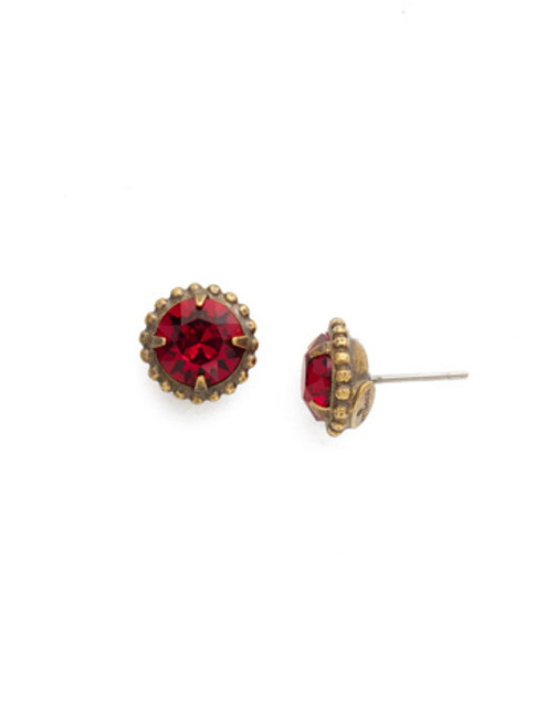 Sorrelli Red Siam Simplicity Stud Crystal Earrings~EBY38AGSI